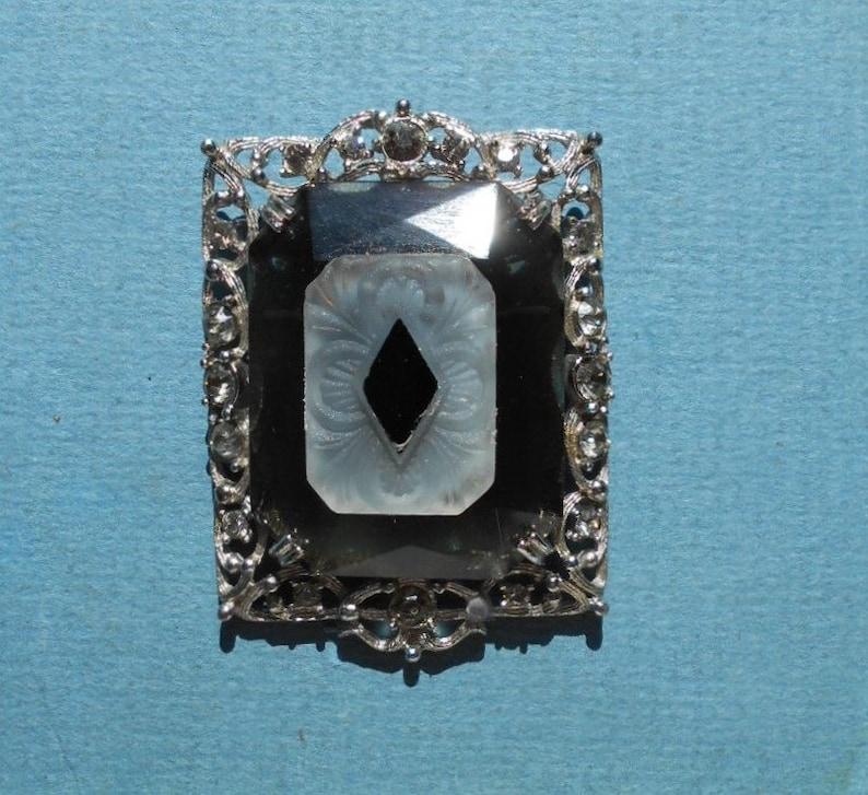 SALE Large CAMPHOR Glass w Black Jet Glass Diamond on Large  Rhinestone Smokey Glass Brooch Pendant on Rhodium Plated Necklace 69.90 OOAK