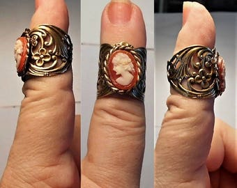 1 Vintage Cameo Ring Open Work Rose Gold Colored Brass Hand Carved Small Shell Cameo Adjustable 6-7 Ring Vintage Cameo Ring .  59.90  OOAK