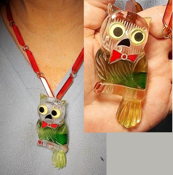 Antique Large Bakelite Owl Googly Eyes 1940s Bakel