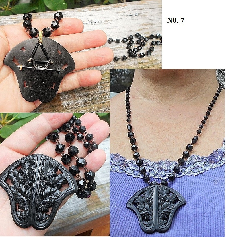 Black  Mourning Beads Antique Victorian Hand Carved Black Jet Glass Necklace Black Jet Necklaces Avail for 25.00 up Six Black Pearls