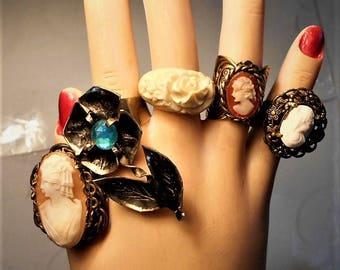 1 Vintage Cameo Ring 65 Yrs Old Hand Carved Shell Cameo in Unmarked Western Germany Adjustable 5-7 Ring  Vintage Cameo Ring Only 99.90  OOAK