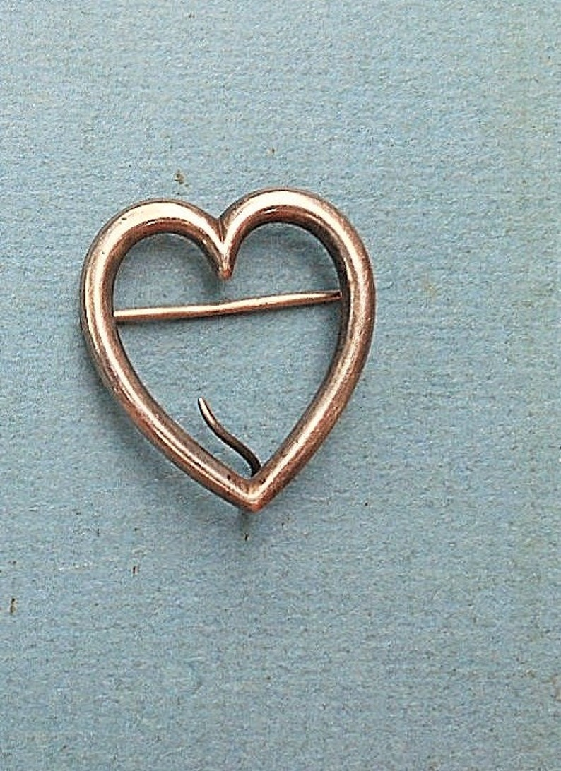 SALE CHATELAINE Heart Victorian Sterling Patina Heart Brooch  Antique Heart w Curlicue Loop for Hanging Chains 1 14 x 1 14 Brooch.