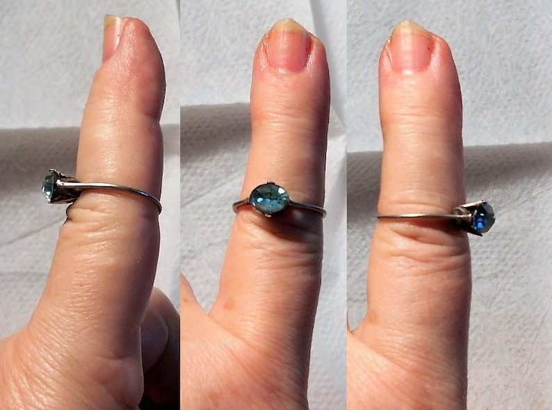Size 6 12 SALE 1 Dainty Rhinestone Ring Thin  Unmarked Silver 1 Blue Foiled Rhinestone Only19.90