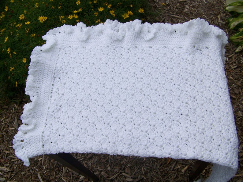 White Crocheted Ruffle Edge Baby Blanket Or Afghan Free Etsy