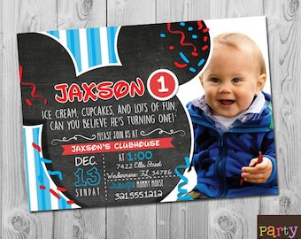 Mickey Mouse 1st Birthday Invitation Printable Clubhouse Party Invitations Boy Girl First Second Third Digital Photo Invite 2nd 3rd