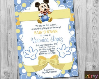 Mickey baby shower etsy baby mickey baby shower invitation blue mickey mouse baby shower invitations blue yellow mickey birthday invite digital printable template filmwisefo