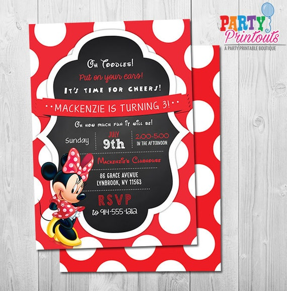 Minnie Mouse Invitation 3rd Birthday Girl Red