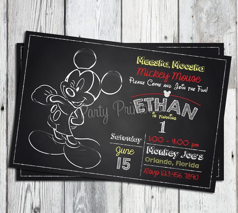 Mickey Mouse Invitation 1st Birthday