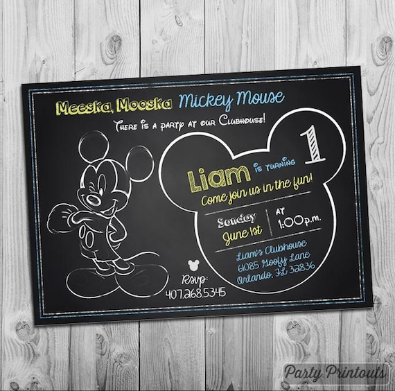 Mickey Mouse 1st Birthday Invitation Printable Chalkboard