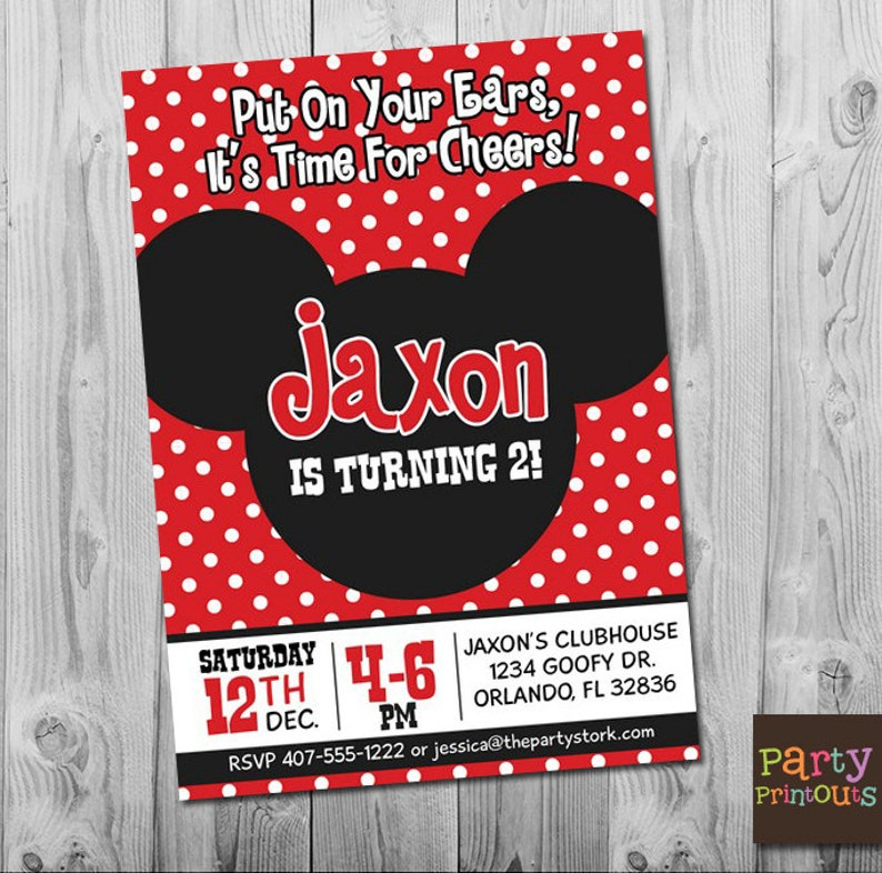 Mickey Mouse 2nd Birthday Invitation Printable Clubhouse Party Invitations Boy Girl First Second Third 1st 3rd
