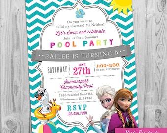 Frozen Pool Party Invitation, Frozen Pool Party Invite, Frozen Summer Birthday Invitations, Girl Pool Party Invitation - Printable