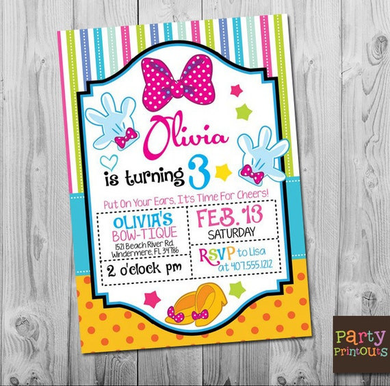 Minnie 3rd Birthday Invitation Printable Mouse Party