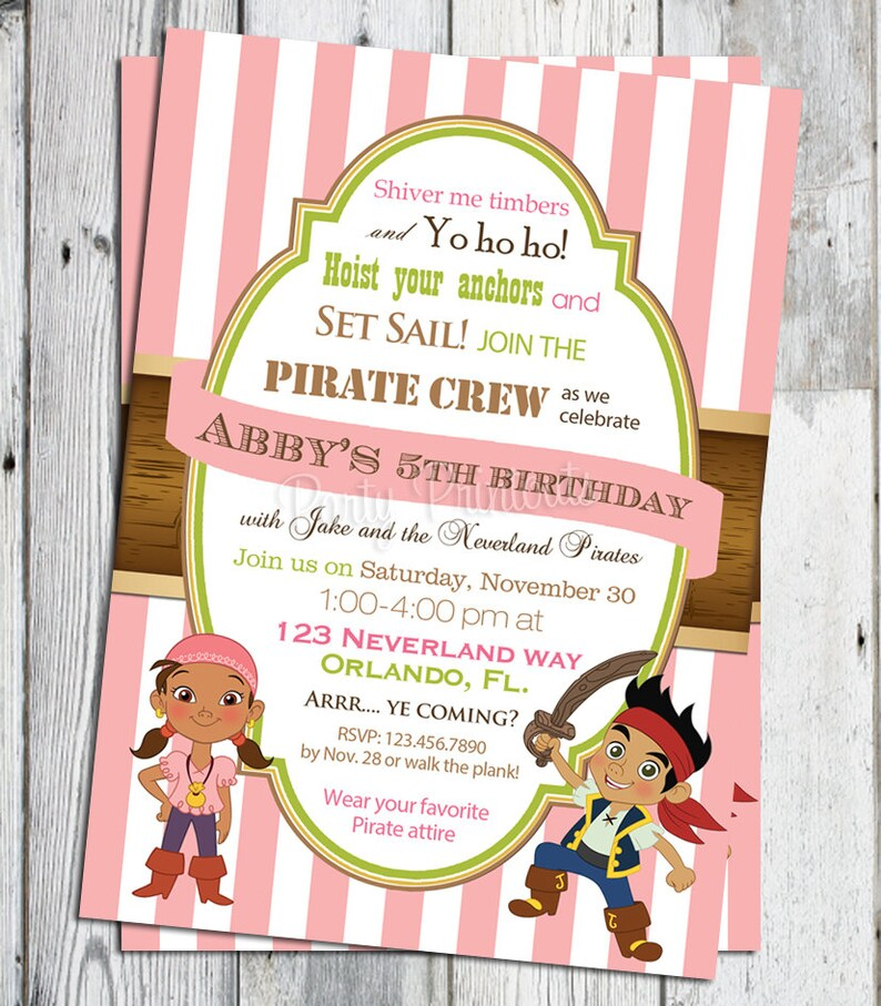 jake und die nimmerland piraten geburtstagseinladung  etsy