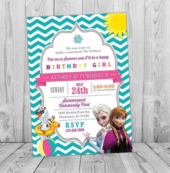 photo regarding Frozen Invite Printable named Frozen Pool Occasion Invitation Printable Frozen Birthday Social gathering Invite with Elsa, Anna, Olaf Summer time Swimming Pool Teal Blue Chevron Gray