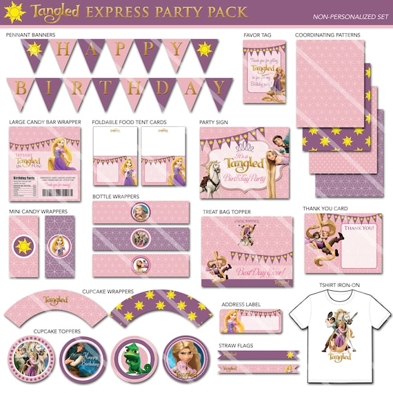 Tangled Party Decorations Tangled Birthday Party Package Tangled Printable Party Pack Rapunzel Party Decorations