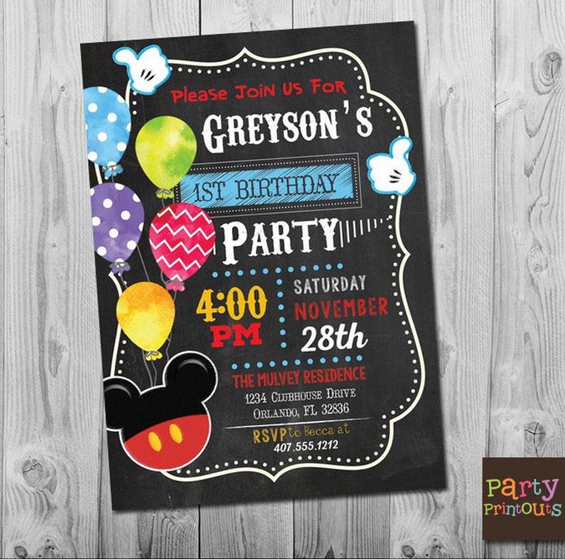 Mickey Mouse Invitation Birthday
