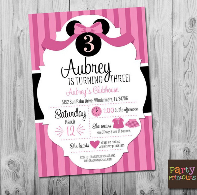 Minnie Mouse Invitation Birthday