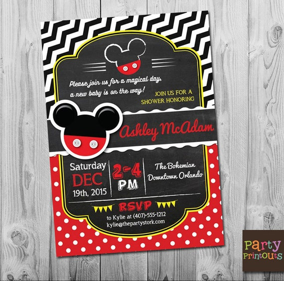 Mickey Mouse Baby Shower Invitations Mickey Mouse Baby Etsy