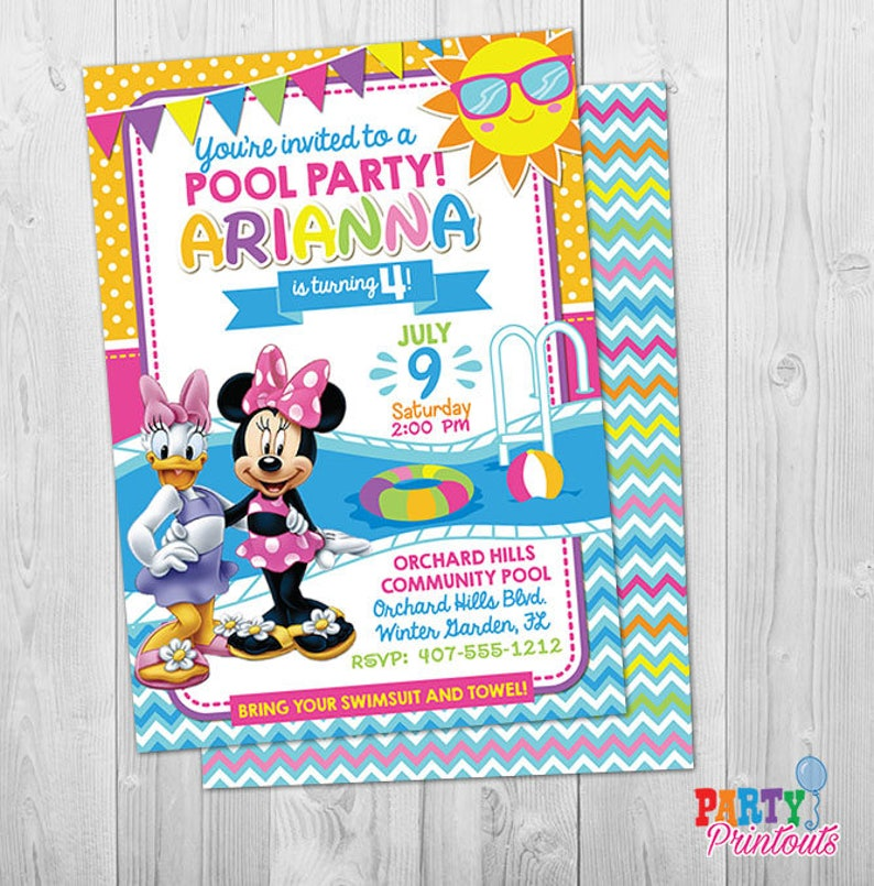 PRINTED Mickey Mouse POOL PARTY Birthday Invitations Minnie Mouse Invitations