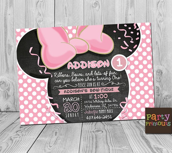 Minnie 1st Birthday Invitation Printable Mouse Party