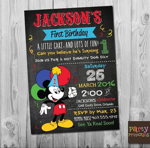 Mickey First Birthday Invitation 1st