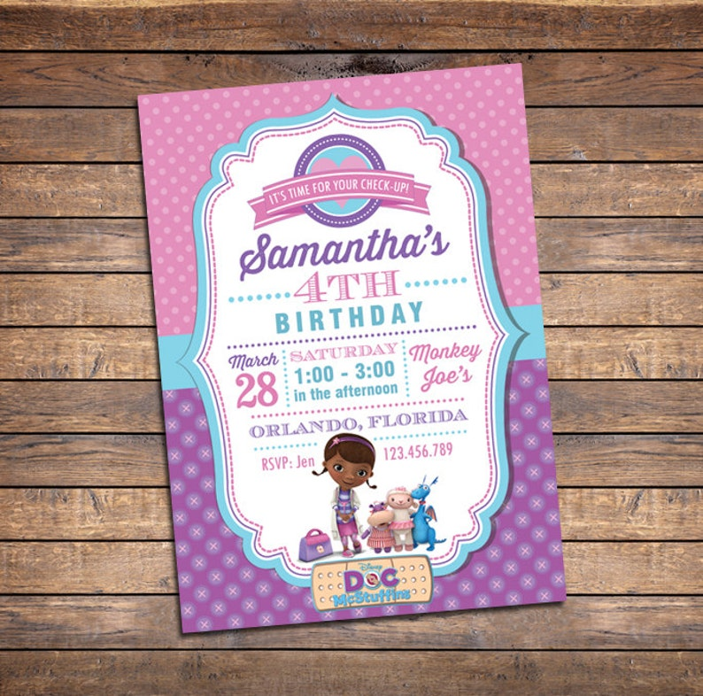 Doc McStuffins Invitations Birthday