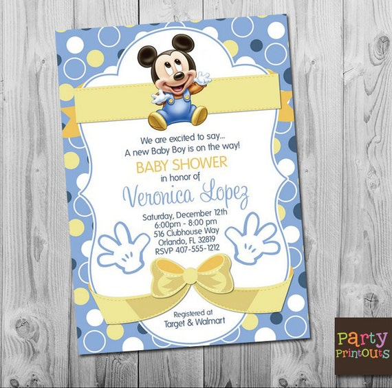 Baby Mickey Baby Shower Invitation Blue Mickey Mouse Baby Etsy