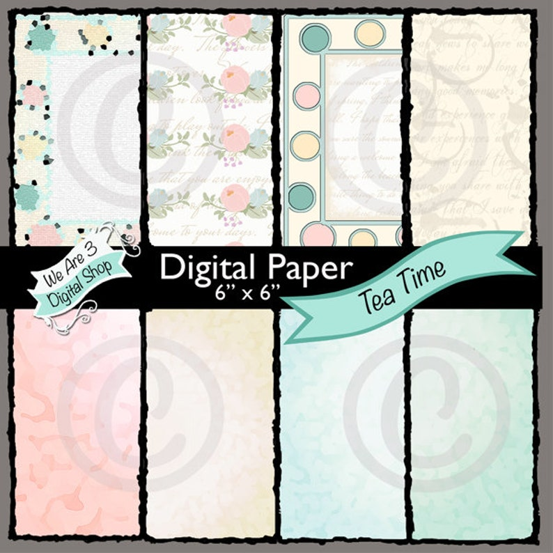 We Are 3 Digital Paper Tea Time image 0