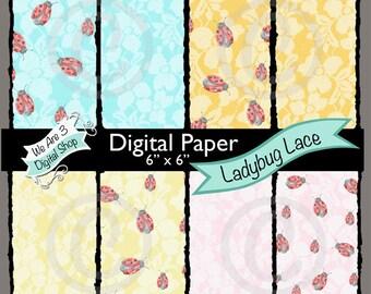 We Are 3 Digital Paper, Ladybug Lace