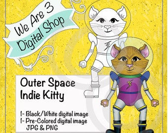 We Are 3 Digital Shop, Outer Space, Indie Kitty,  Pre-Colored, Printable, Digital Stamp