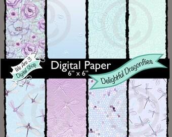 We Are 3 Digital Paper, Delightful Dragonflies