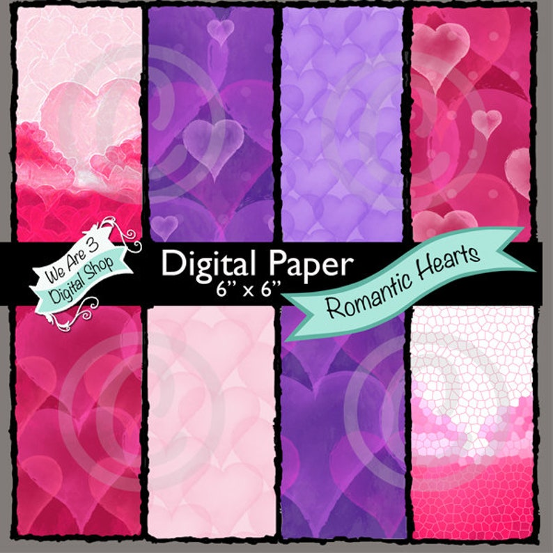 We Are 3 Digital Paper Romantic Hearts Valentines Love image 0