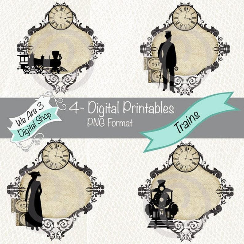 We Are 3 Digital Printables  Trains Steampunk image 0