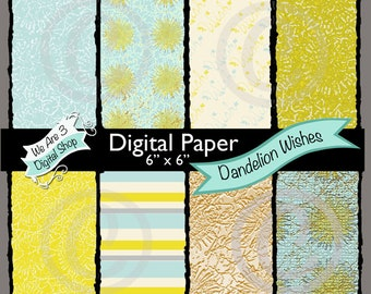 We Are 3 Digital Paper, Dandelion Wishes