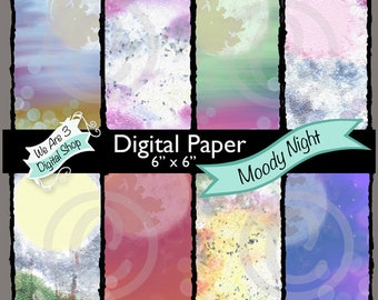 We Are 3 Digital Paper - Moody Night, Ink Blending, Moon, Sun, Scene, Fantasy