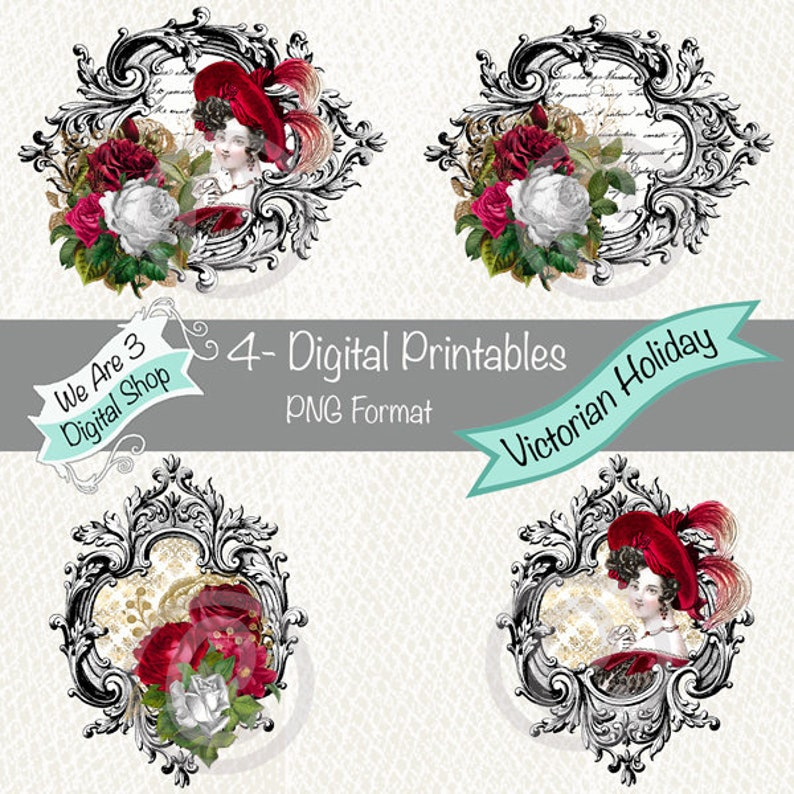 We Are 3 Digital Printables Victorian Holiday Printables image 0