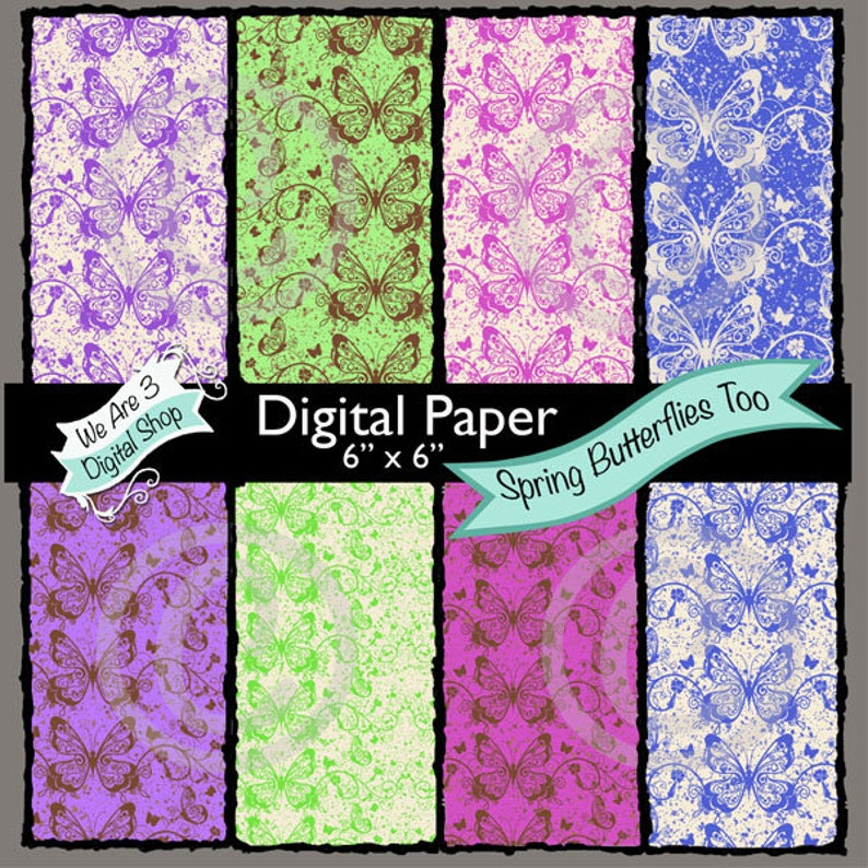 We Are 3 Digital Paper  Spring Butterflies Too image 0