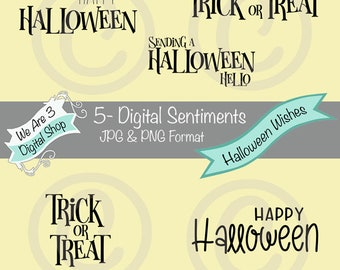 We Are 3 Digital Sentiments - Halloween Wishes, Autumn, Fall