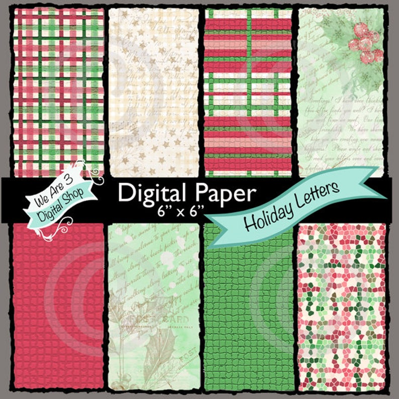 We Are 3 Digital Paper Holiday Letters Christmas Plaid image 0