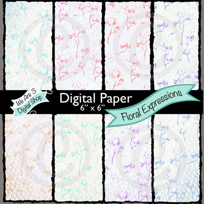 We Are 3 Digital Paper Floral Expressions image 0