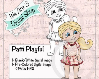 We Are 3 Digital Shop, Patti Playful,  Girl, Printable, Black and White, Digital Stamp