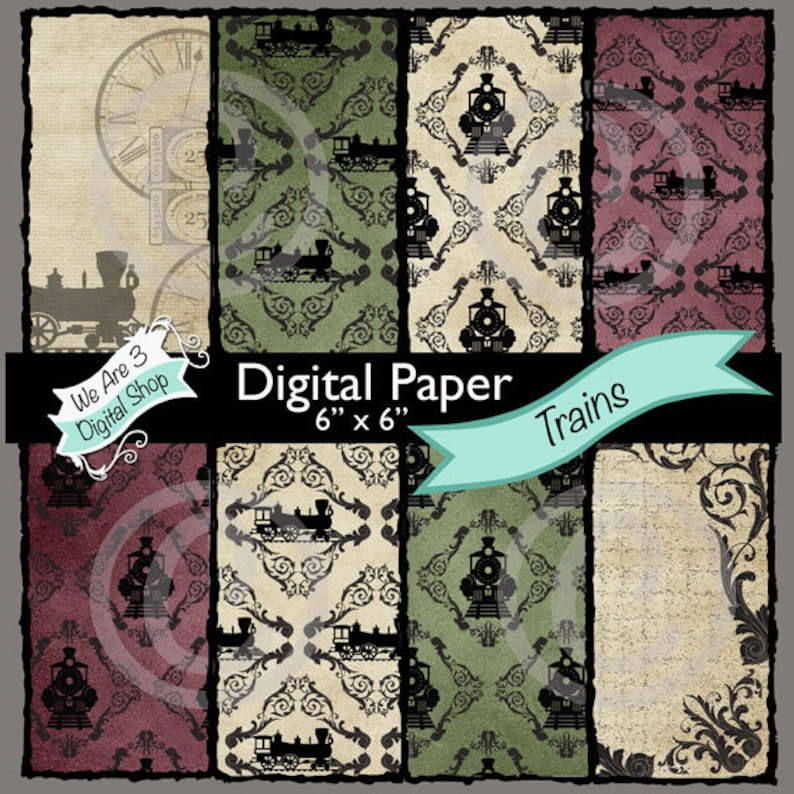 We Are 3 Digital Paper  Trains Travel Journey Steampunk image 0