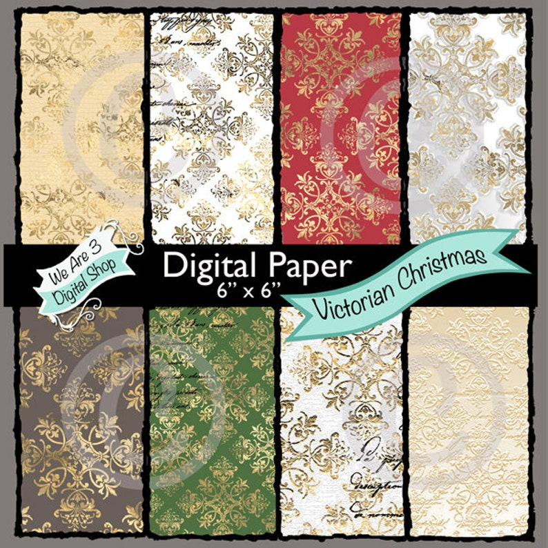 We Are 3 Digital Paper  Victorian Christmas image 0
