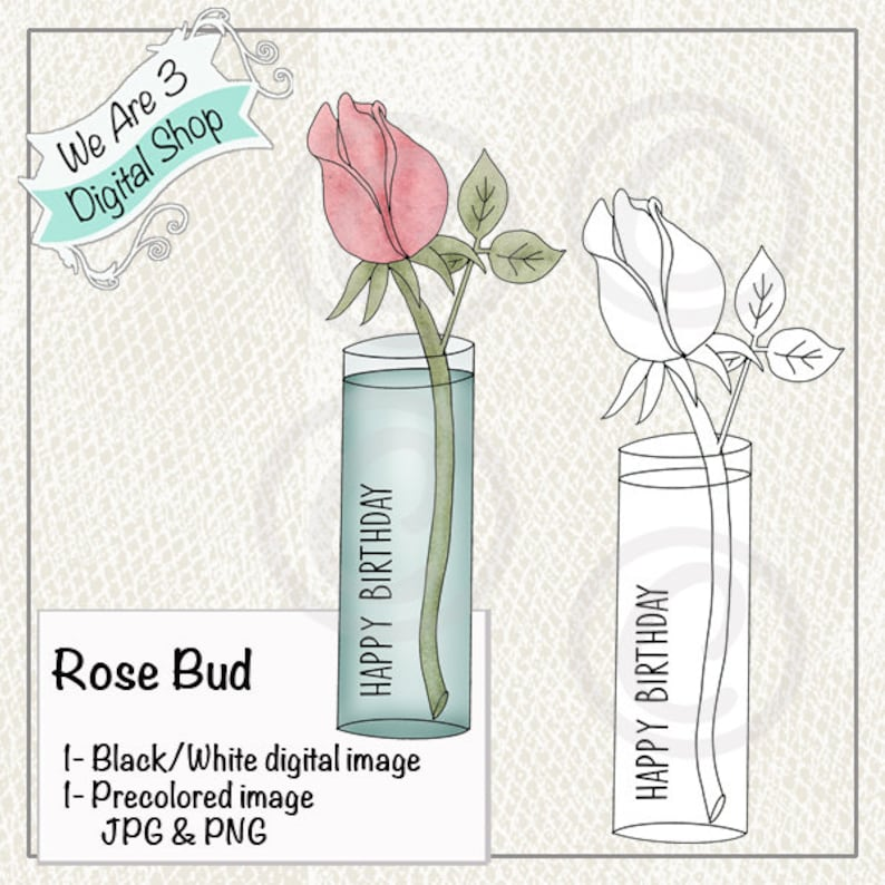 We Are 3 Digital Shop  Rose Bud Happy Birthday image 0