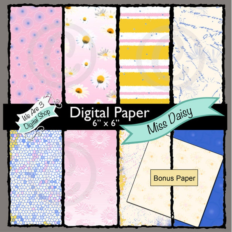 We Are 3 Digital Paper Miss Daisy image 0
