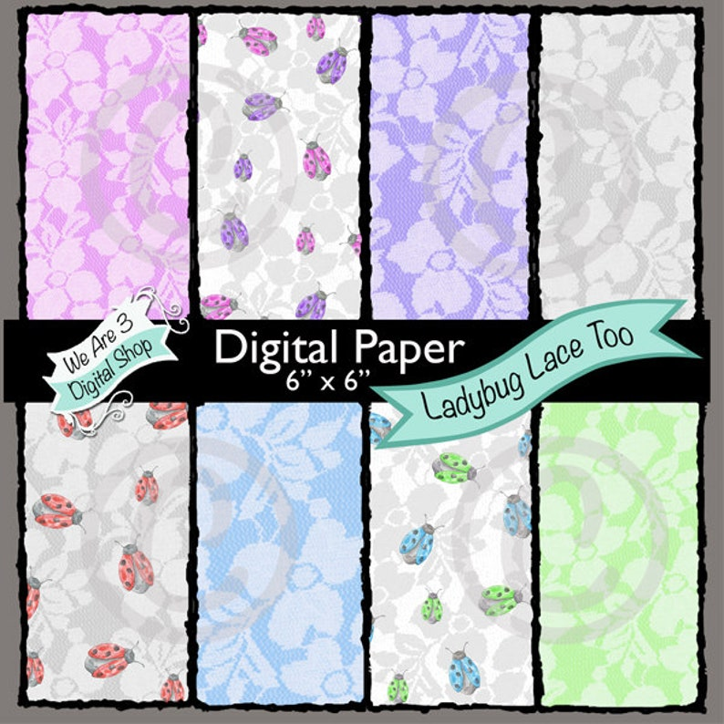 We Are 3 Digital Paper Ladybug Lace Too image 0