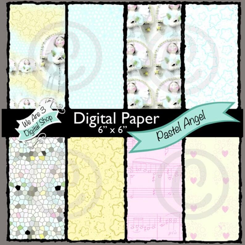 We Are 3 Digital Paper Pastel Angel Christmas Baby image 0
