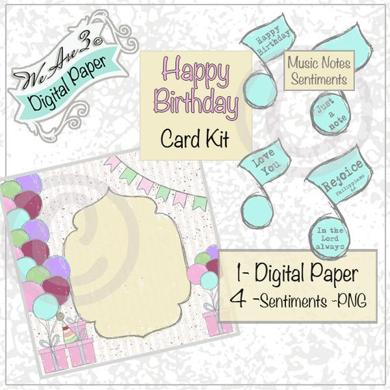 We Are 3 Digital Paper Happy Birthday Card Kit Music Notes Etsy