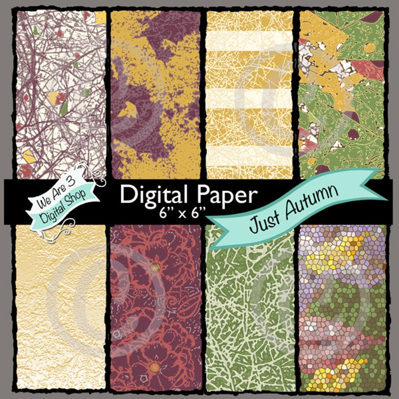 We Are 3 Digital Paper Just Autumn Fall image 0