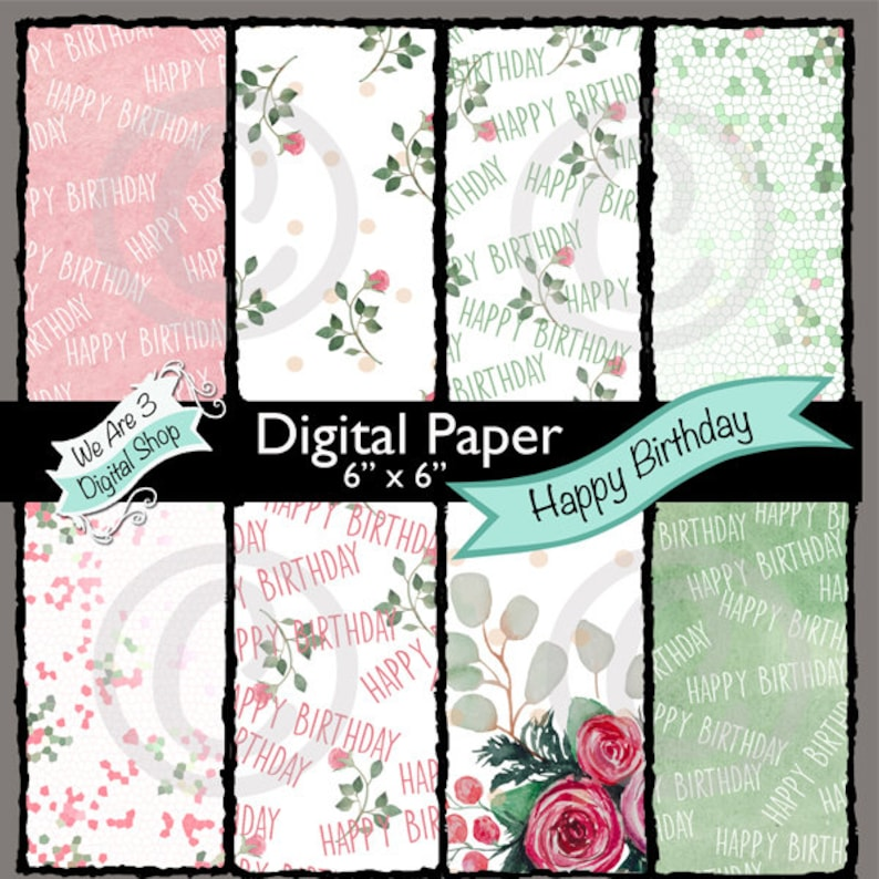 We Are 3 Digital Paper  Happy Birthday Roses Floral image 0
